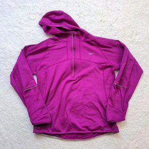 Nike Running Top Dri Fit Pink Hood Size Medium